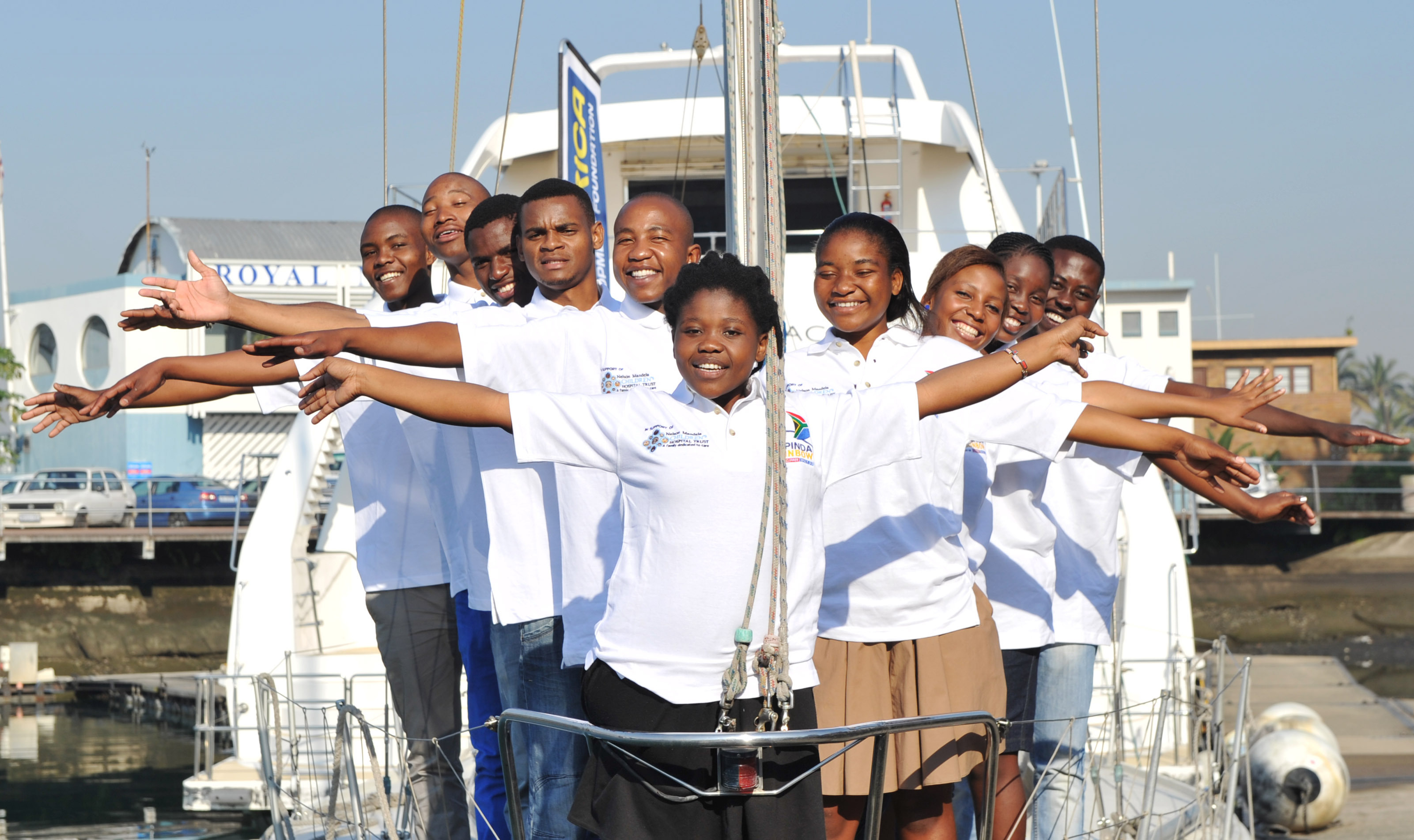 Lebalang Molobele, pictured on the Clipper Race in 2013 with other members of the Rainbow Foundation.
