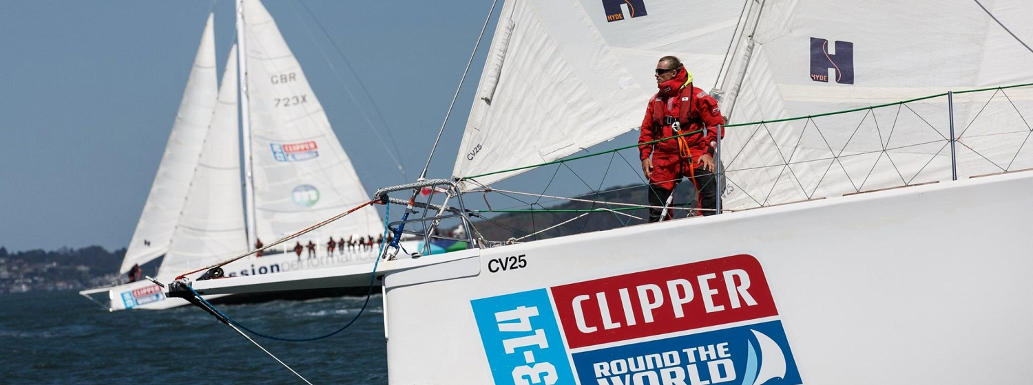 Craig on the bow durin Clipper 2013-14 Race circumnavigation