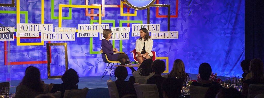 Vicky Song on stage at Fortune Magazine's Most Powerful Women International Summit in Hong Kong this week.