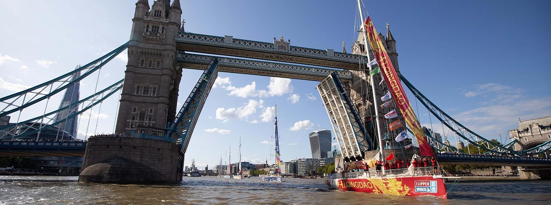 Tower Bridge opens for the Clipper Race fleet
