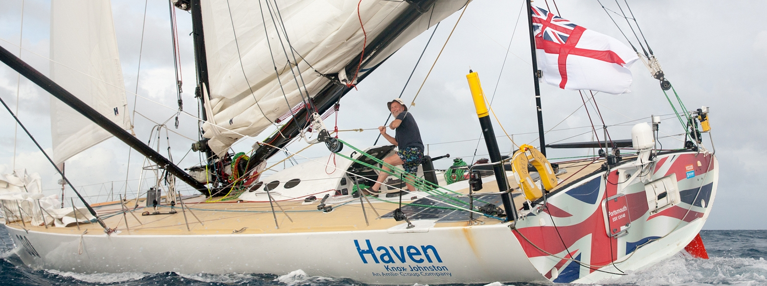 Sir Robin Knox-Johnston finished third in the Route du Rhum Rhum class yesterday. Picture: Breschi
