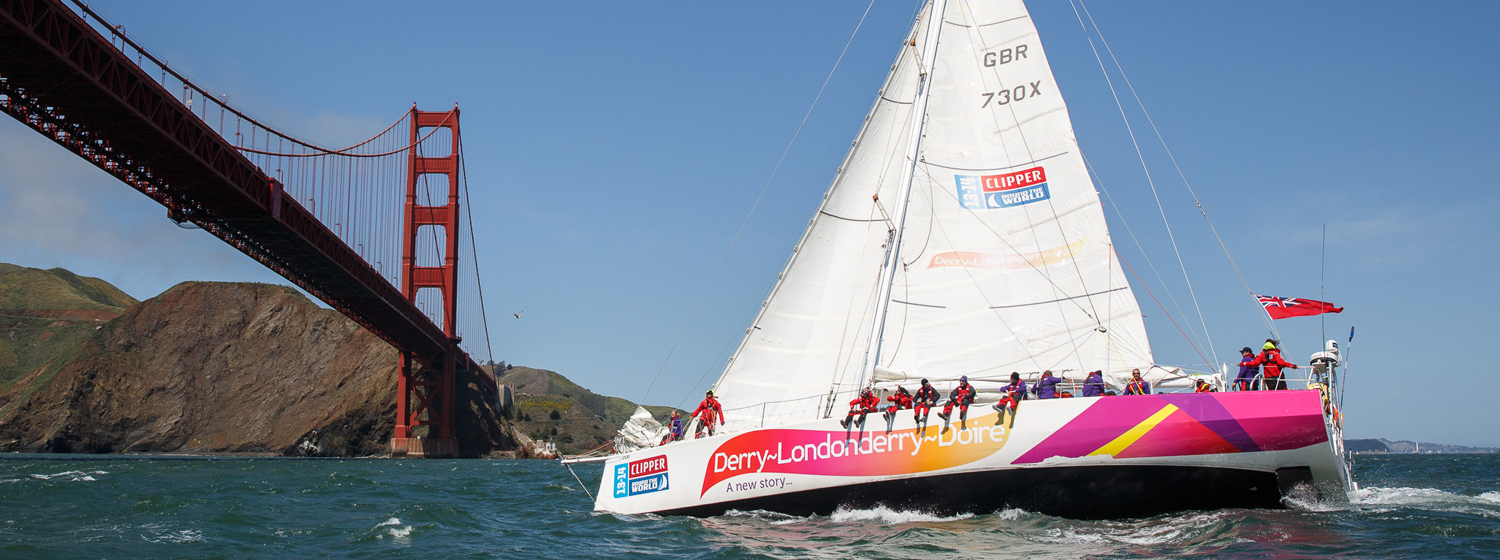 Derry~Londonderry~Doire sailing under the Golden Gate Bridge, San Francisco