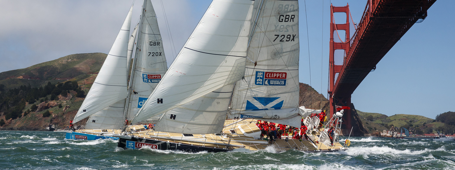 Clipper Race fleet in San Francisco