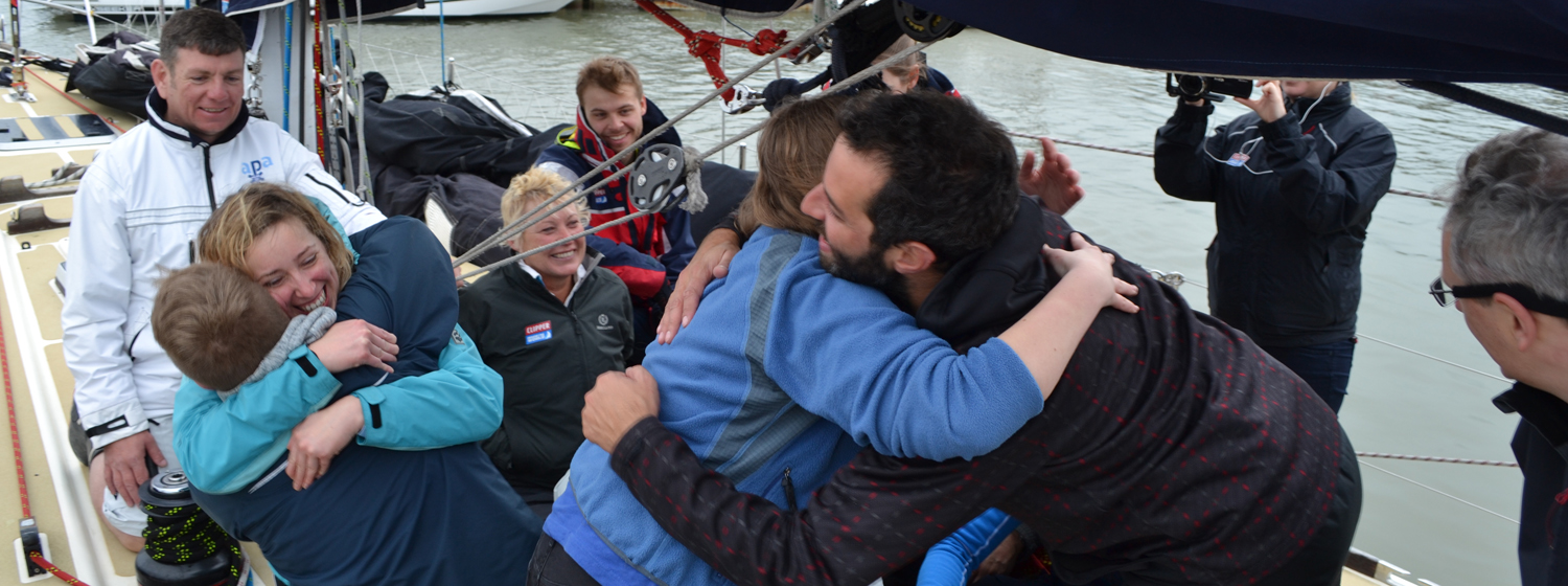 Prize winners Charlie and Heather shown celebrating with crew
