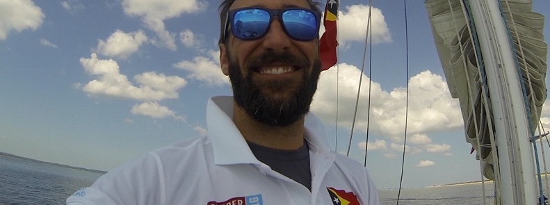 Crew member Alex Couto pictured on desk during Clipper Race training
