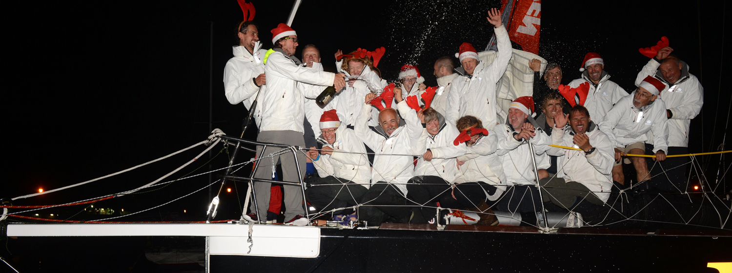 Henri Lloyd celebrating win into Sydney during Clipper 2013-14 Race