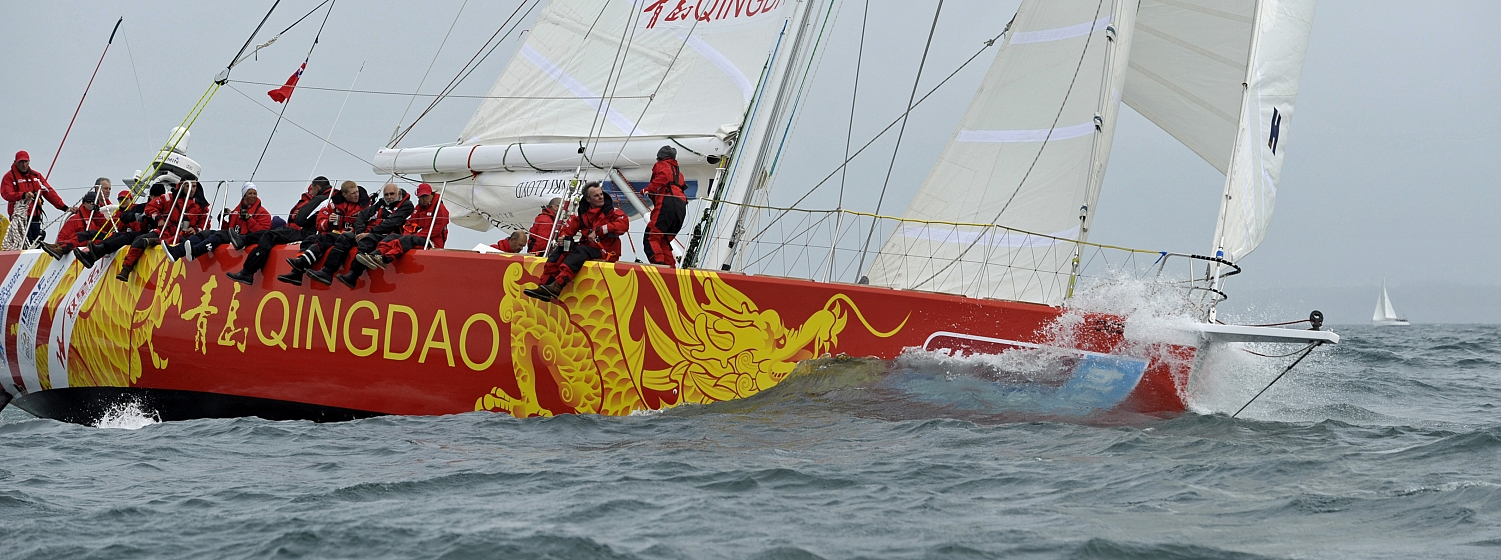 The Qingdao yacht pictured racing during the last race.