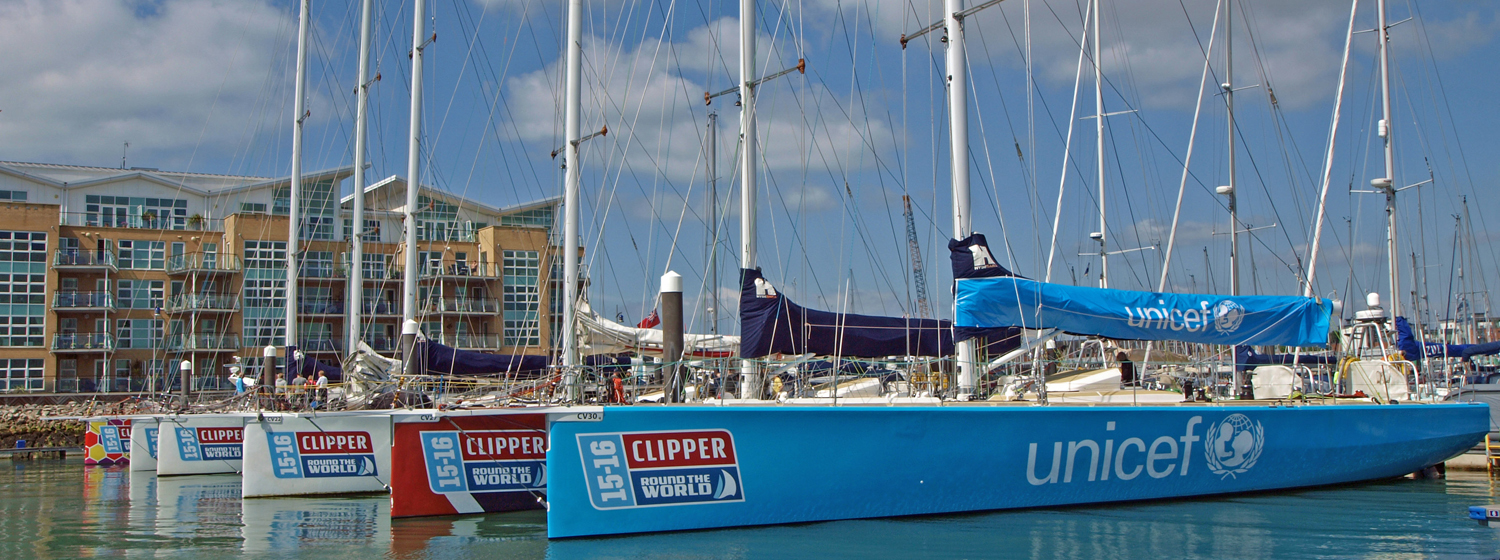 Clipper 2015-16 Race fleet in marina