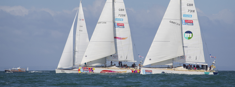 Clipper Race fleet in 2015 Round the Island Race