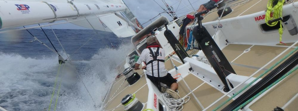 LMAX Exchange team shown racing at 40 degree angle on board