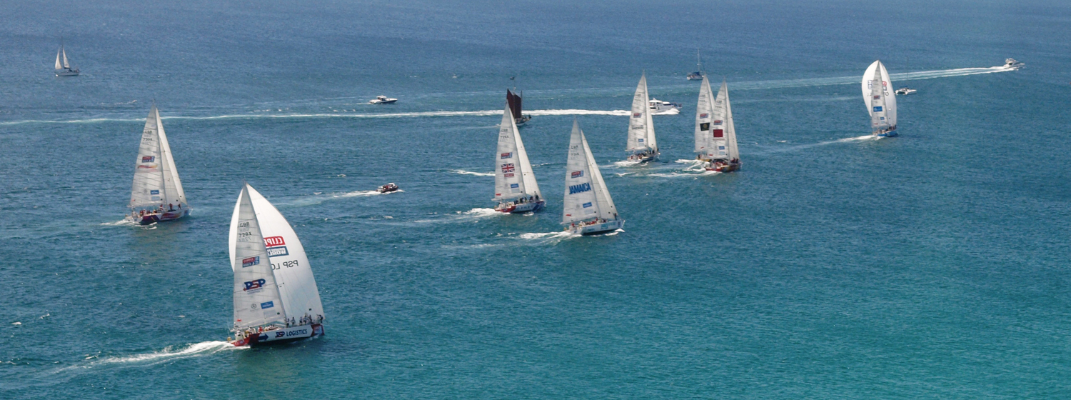 Clipper Race fleet leaving Cape Town, South Africa