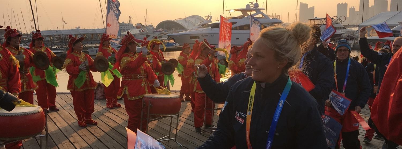 Charlotte Evans arrives in Qingdao