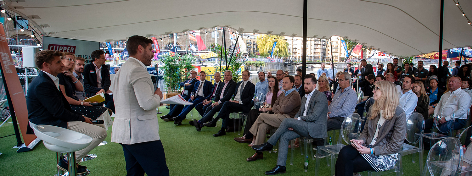 Business leaders and Clipper Race partners gather at St. Katharine Docks, London