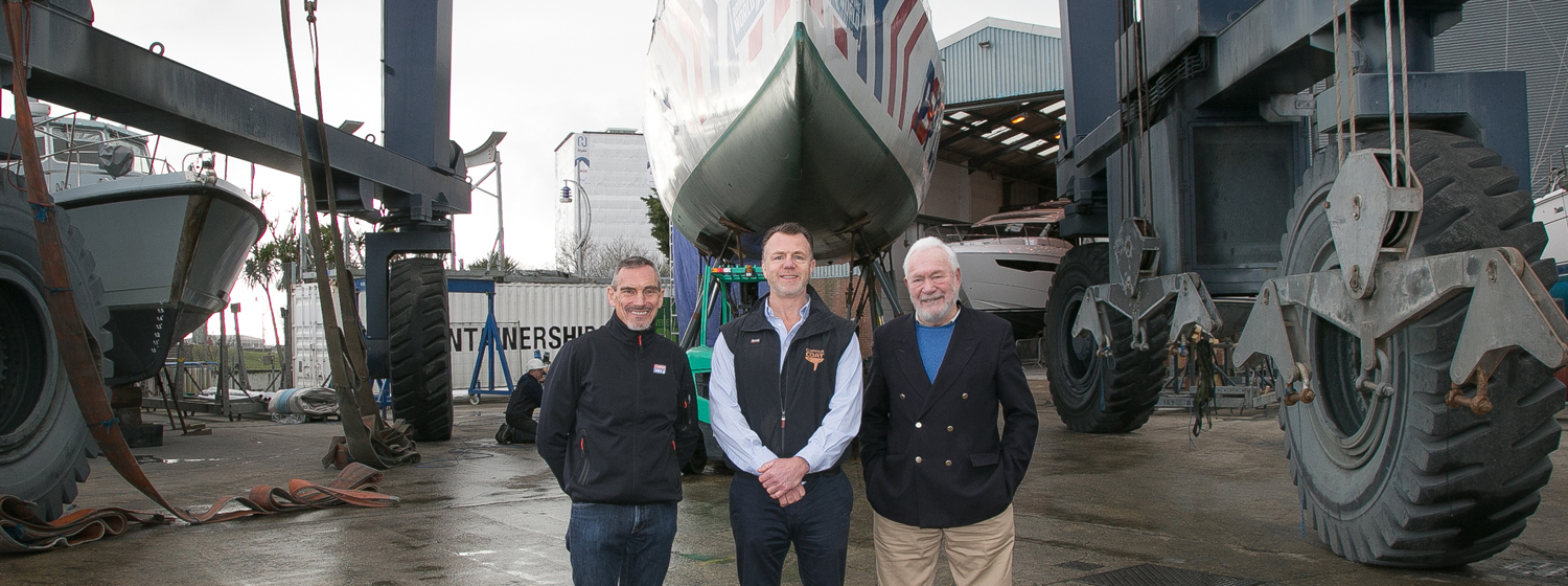 William Ward OBE, Jayson Kenny and Sir Robin Knox-Johnston celebrate Coppercoat becoming Official Antifoul Supplier to the 2019-20 and 2021-22 editions