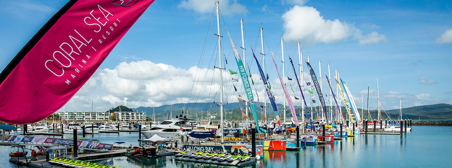 Clipper Race moored in the Coral Sea Marina Resort