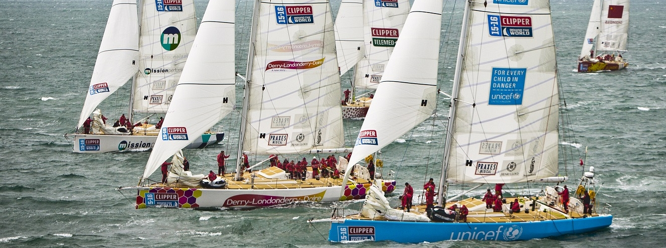 Clipper Race fleet shown in action