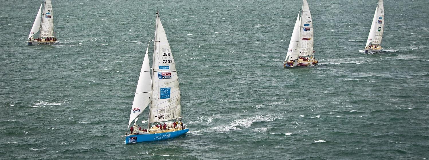 Action shot of Clipper Race fleet