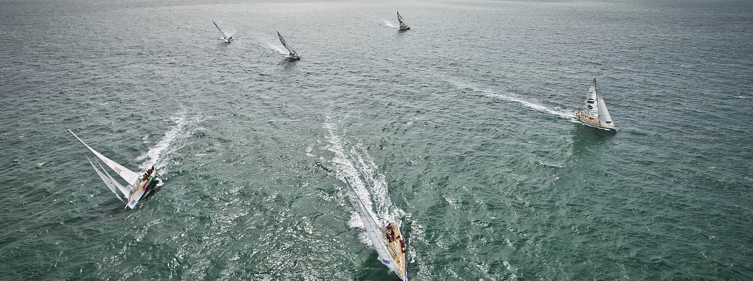 The Clipper Race yachts seen racing from a helicopter