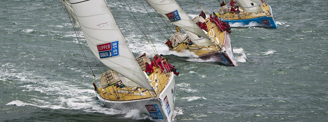 Clipper Race yachts shown in action
