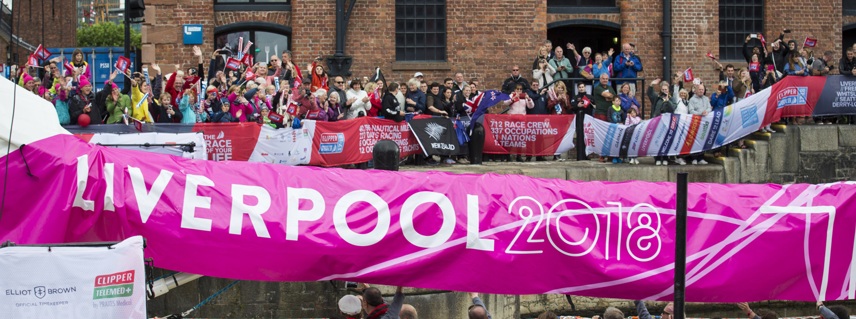 Crowds waving off Liverpool 2018