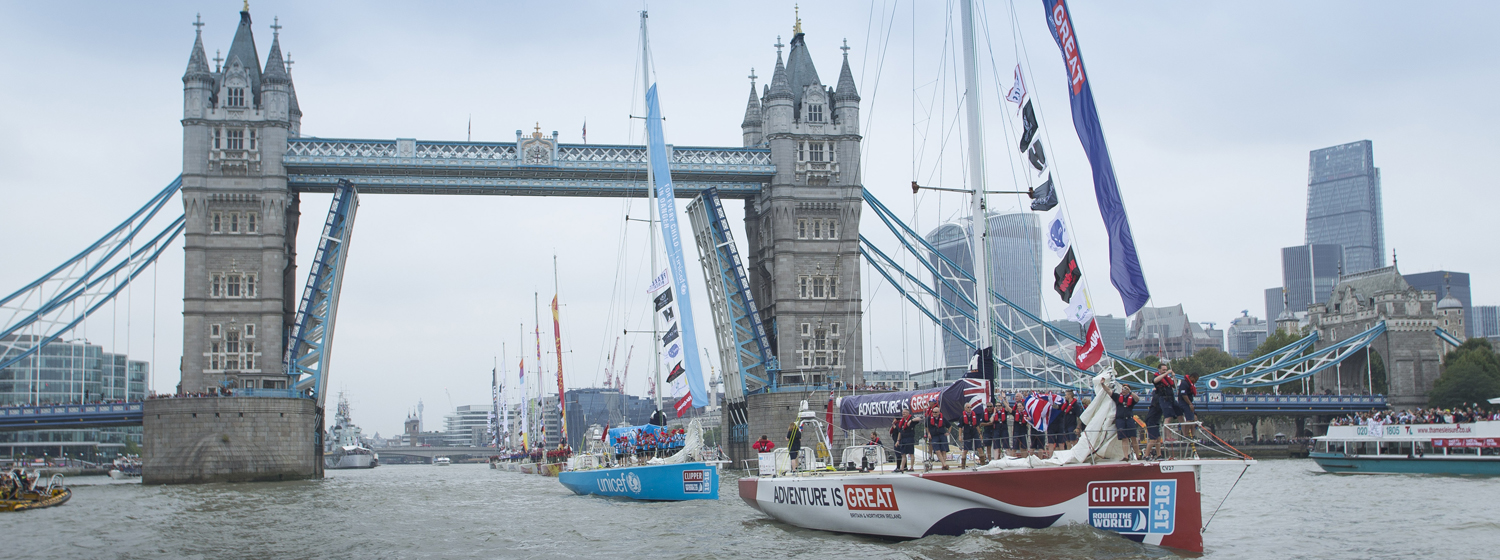 Tower Bridge lifts for teams as tenth Clipper Race gets underway