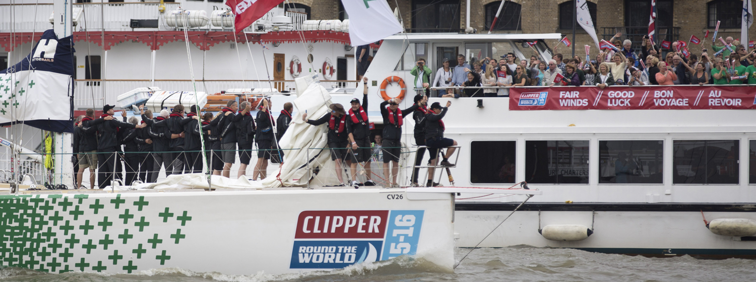 Spectator boats wave the race teams farewell at the Race Start in London last summer