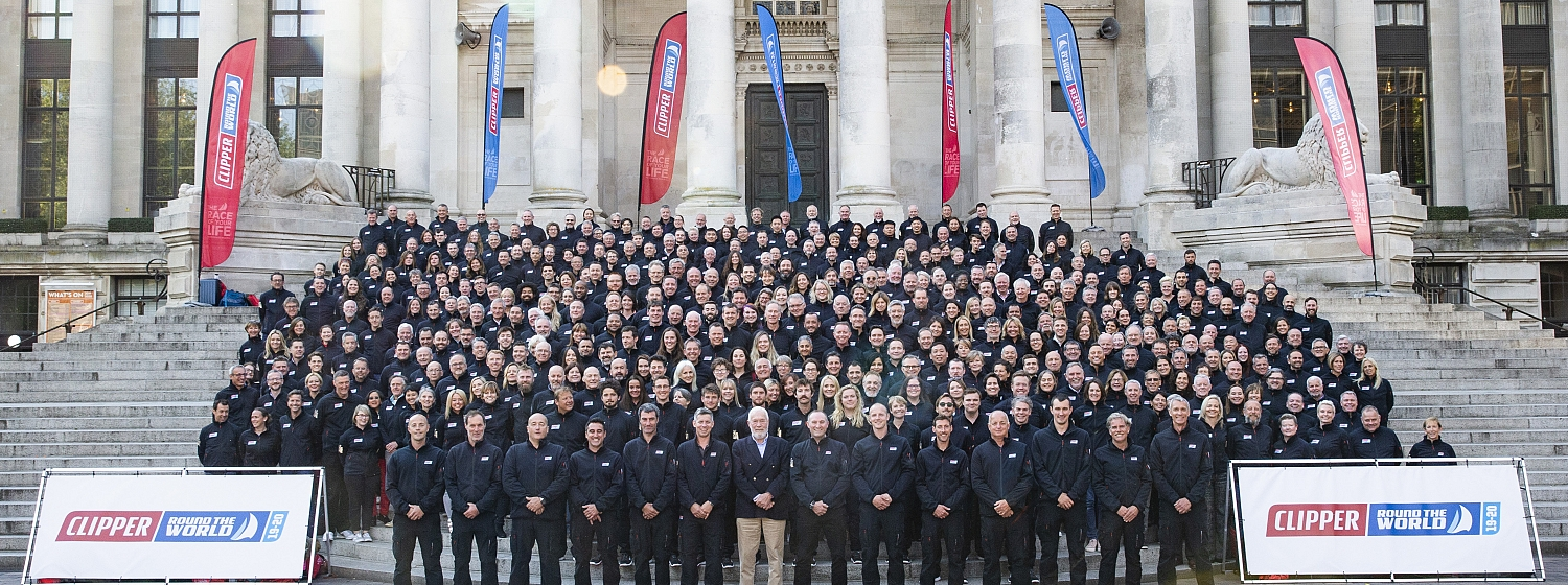 Clipper 2019-20 Race Crew stand on the steps of Portsmouth's Guildhall at last year's Crew Allocation