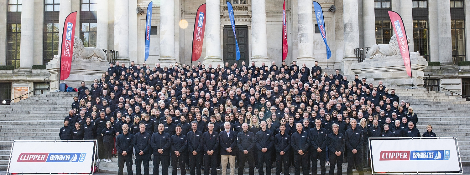 Clipper 2019-20 Race Crew with Sir Robin and Skippers at Portsmouth Guildhall