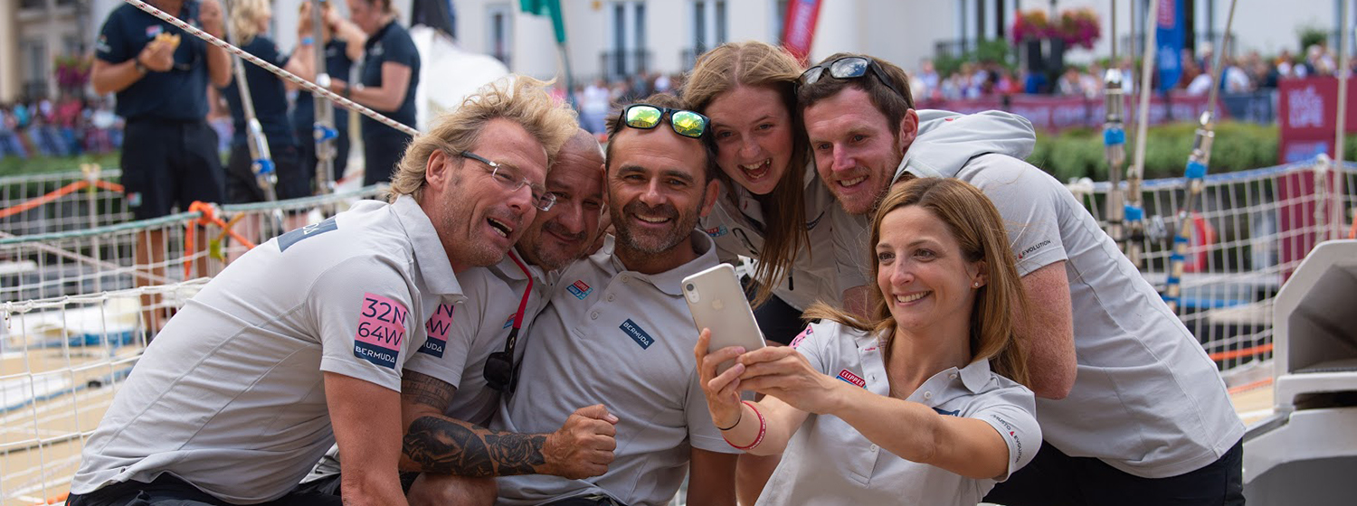 Lee and GoToBermuda team mates snapping a selfie ahead of Race Start in London
