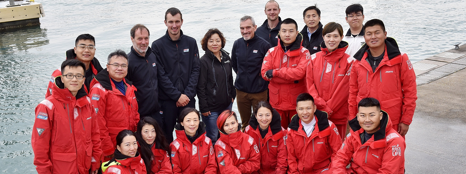 Clipper Ventures CEO William Ward and CYA President Zhang Xiaodong with Clipper Race Skippers and crew in Gosport, UK
