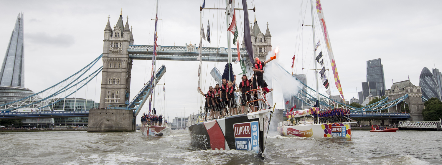 Clipper Race fleet performs Parade of Sail on River Thames