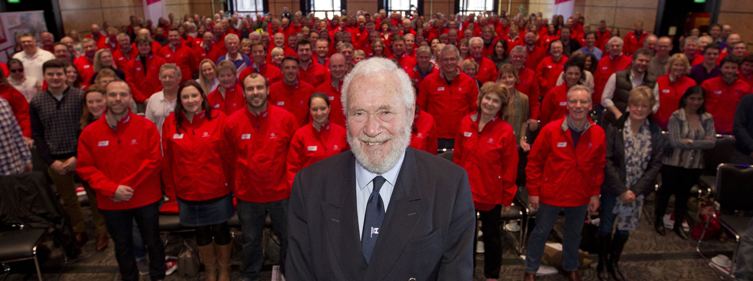 Clipper Race Chairman Sir Robin Knox-Johnston and crew at Crew Day London