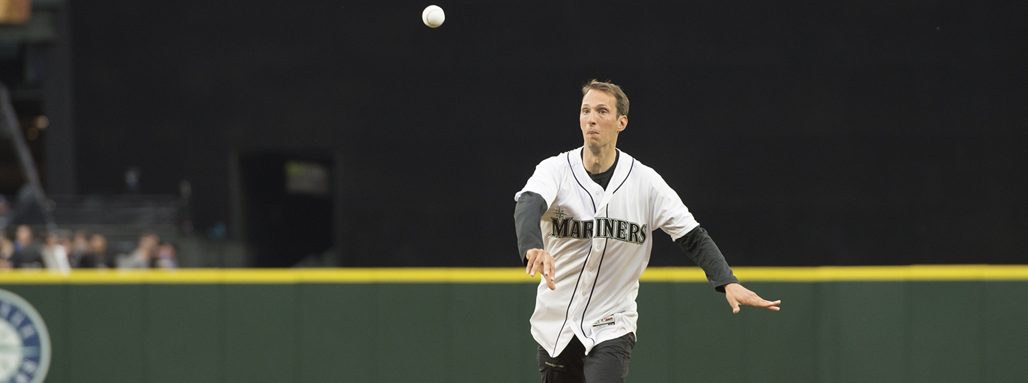 Skipper Huw Fernie makes first pitch at Mariners game