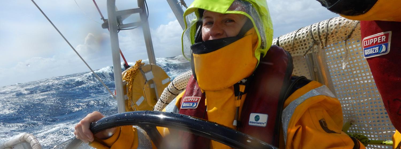 Dana Nichols racing across the North Pacific