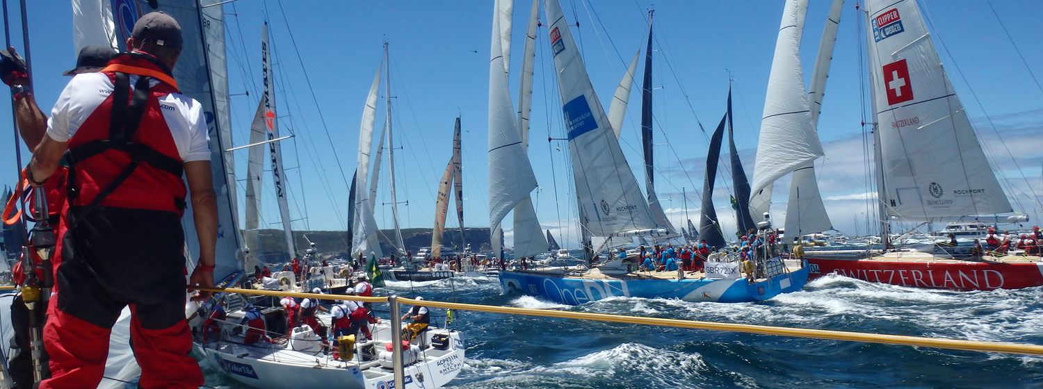 Clipper Race fleet participating in the 2013 Rolex Sydney Hobart Race