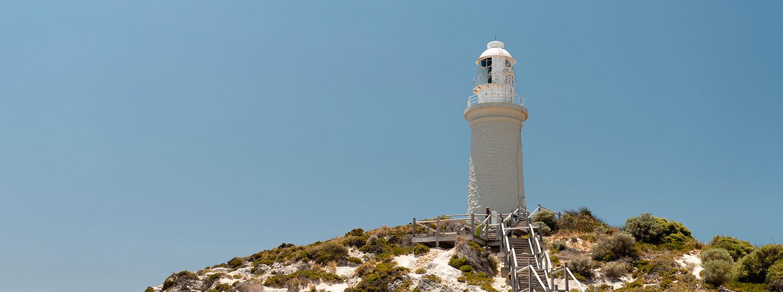 Rottnest Lighthouse under blue skies