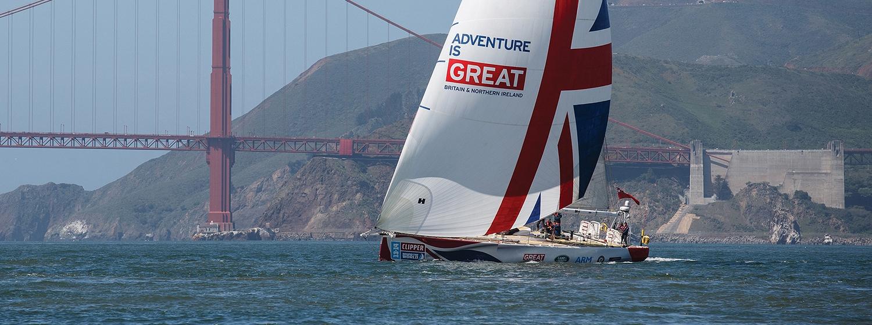 GREAT Britain yacht under spinnaker in San Fransisco