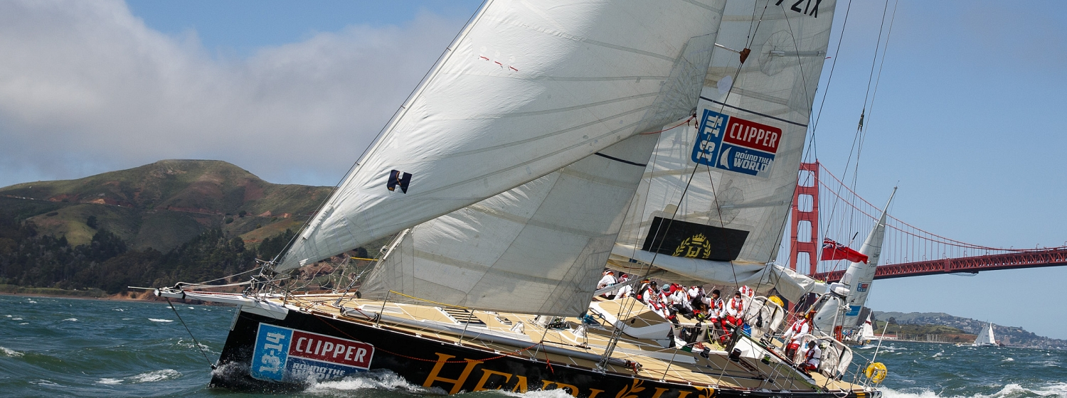 The Henri Lloyd yacht pictured racing under San Francisco's Golden Gate Bridge
