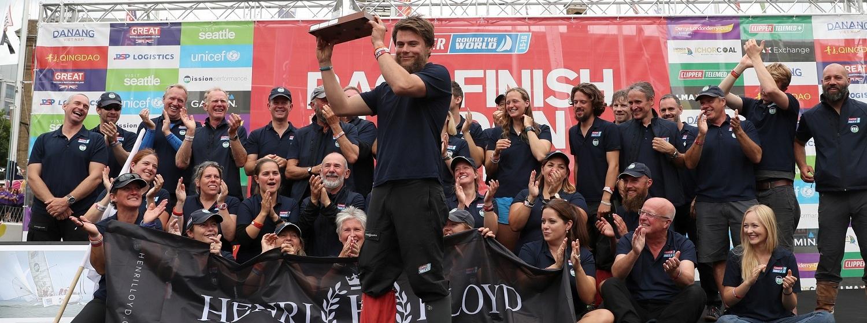 Gavin Reid pictured raising Henri Lloyd Seamanship Award