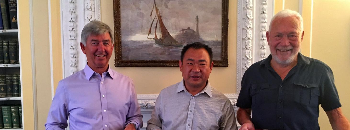 Eddie Warden Owen, CEO, RORC, Mr Chen, Managing Director, Round Hainan Regatta and Sir Robin Knox-Johnston at RORC in London