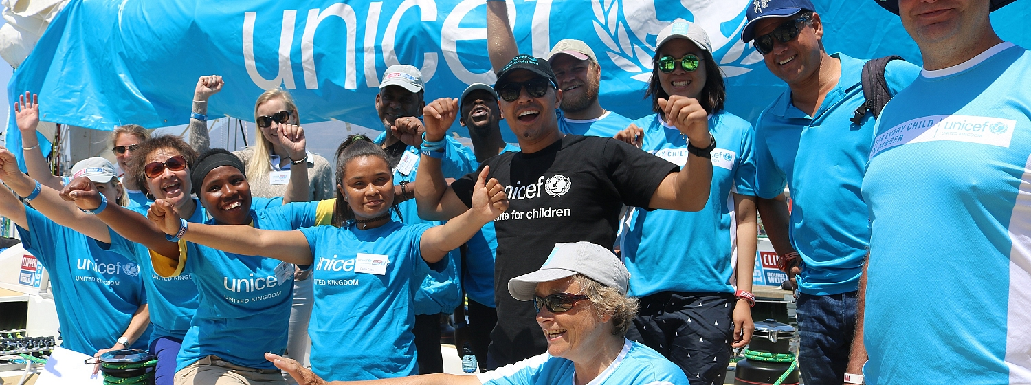 Image of crew fundraising for Unicef during the Clipper 15-16 Race