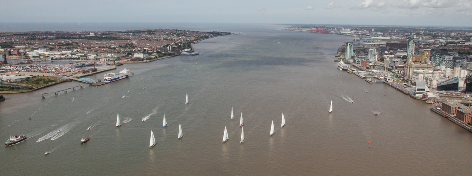 Aerial photo of the Clipper Race fleet on the Mersey