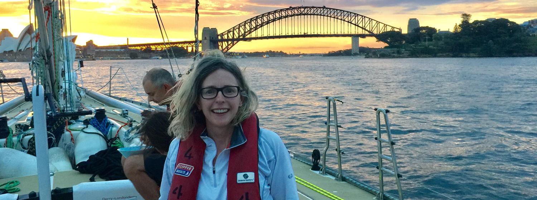 Jane on board her Clipper Race training in Sydney, Australia