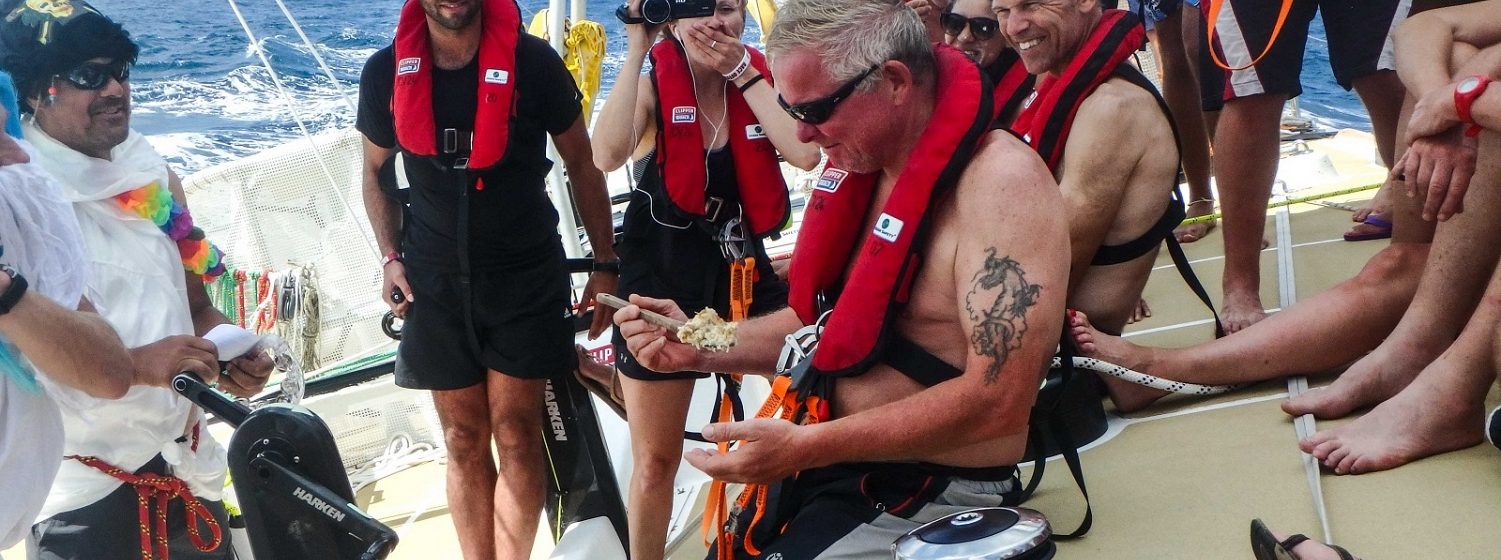 A pollywog turns into a shellback during Leg 1