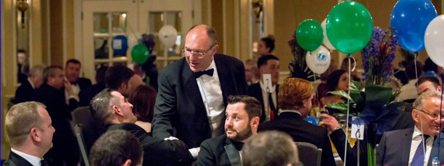 Clipper Race crew member, Mike Sweet, at an auction dinner he organised in Bristol in aid of Unicef