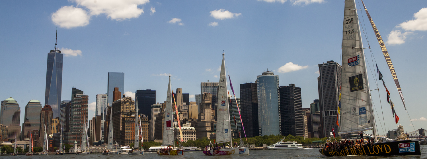 The Clipper Race fleet shown departing New York during the last race.
