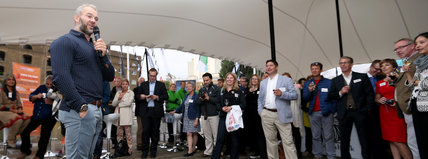 Former England Rugby 7's Captain, Ollie Phillips speaks at Clipper Connect event London