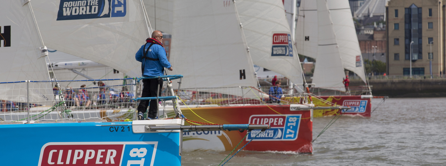 Paul on the bow at Race Start in Liverpool