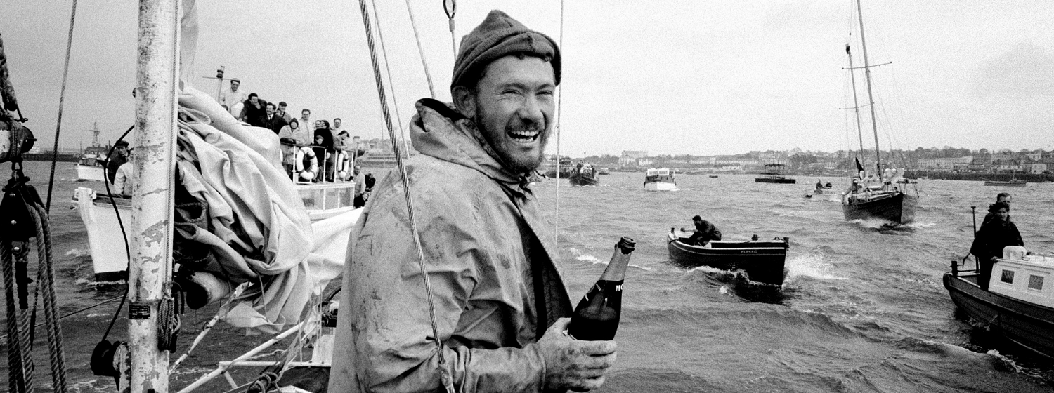 Sir Robin pictured in 1969 crossing the finish line in Golden Globe Race
