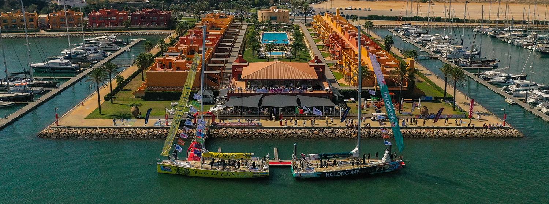 Clipper Race fleet berthed in Marina de Portimao